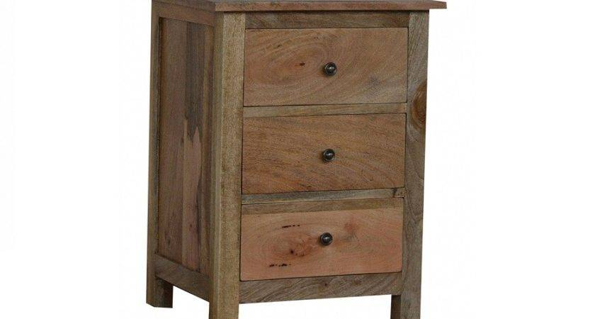 Rustic Mangowood Fruitwood Tree Drawer Bedside Table