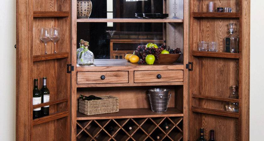 Rustic Oak Bar Armoire
