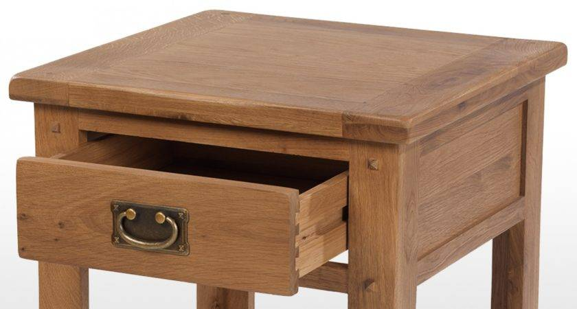 Rustic Oak Drawer Bedside Table Quercus Living