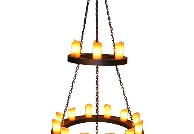 Rustic Old Iron Two Tier Candle Chandelier Reclaimed