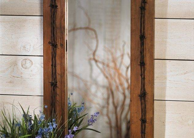 Rustic Old Ranch Barbed Wire Mirror Reclaimed Furniture