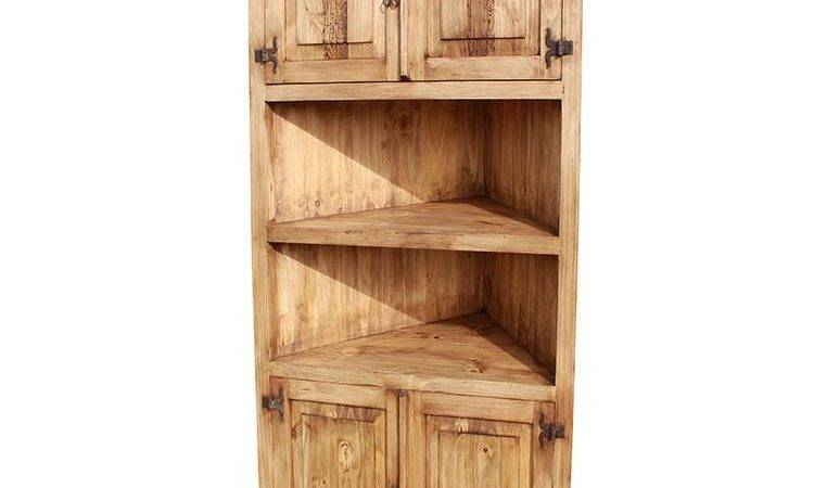 Rustic Pine Collection Large Corner Bookcase Lib