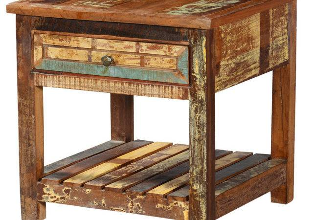 Rustic Reclaimed Wood Tier Weathered Square End Table