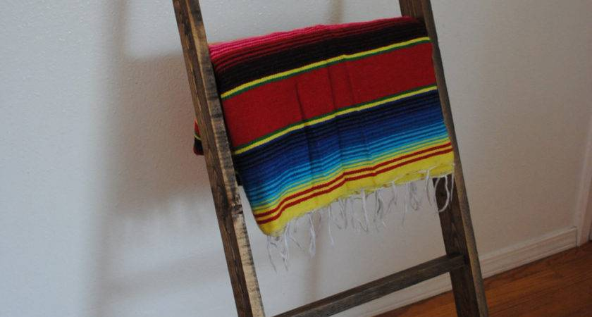 Rustic Towel Blanket Ladder Rack
