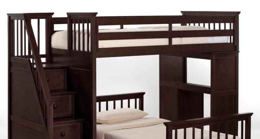 Schoolhouse Stairway Loft Bed Chocolate Bunk Beds