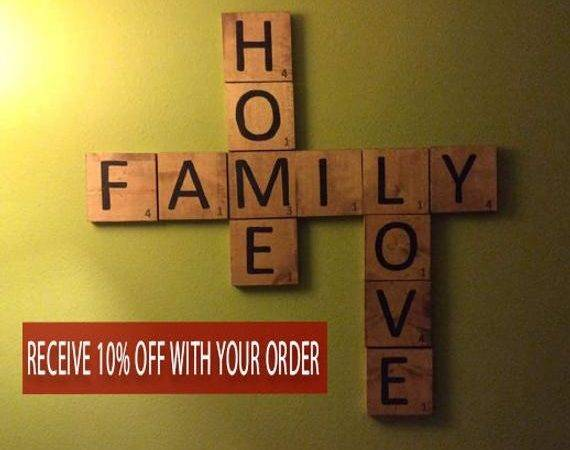 Scrabble Wall Art Home Decor Wood Squares Large Crafteme