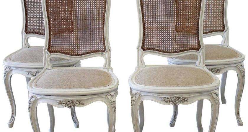 Set Four Louis Style French Painted Cane Back Dining