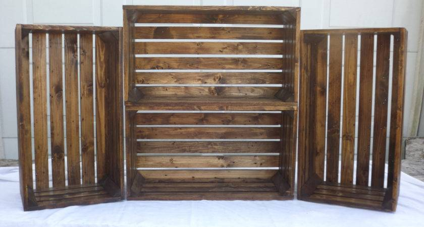 Set Large Reclaimed Wooden Storage Crate
