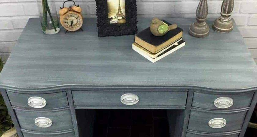 Shabby Chic Desk Hand Painted Layers Grays