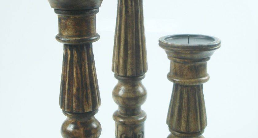 Shabby Chic White Brown Rustic Hand Carved Pillar Candle