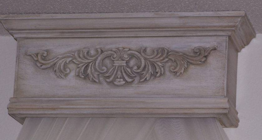 Shabby French Distressed Bed Canopy Cornice Made Order
