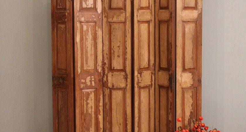 Shipping Room Divider Screen Old Wood Folding Rustic Door