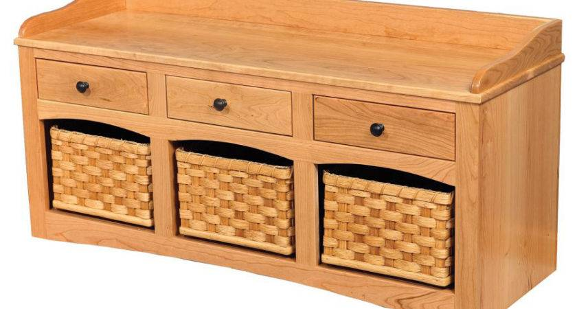 Shoe Bench Baskets Drawers Amish Crafted Furniture