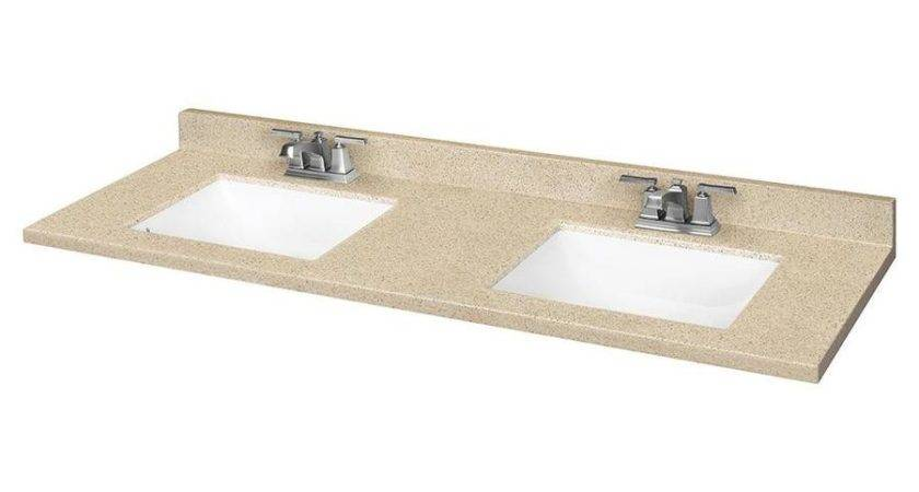 Shop Dune Solid Surface Integral Double Sink Bathroom