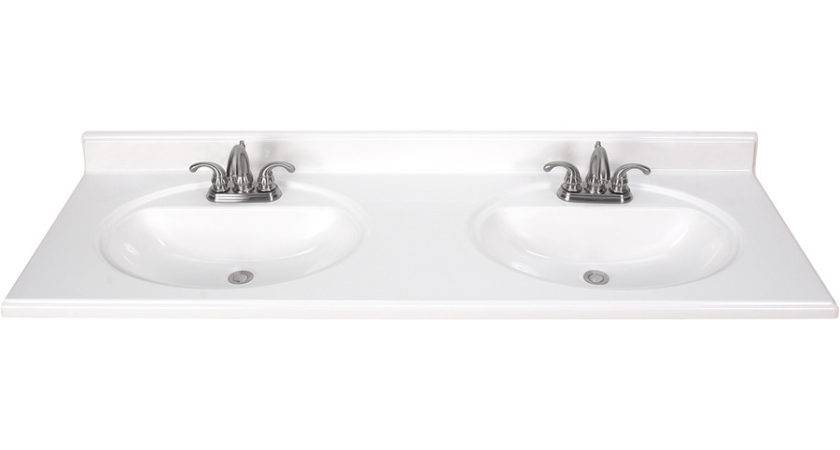 Shop White Cultured Marble Integral Bathroom Vanity Top