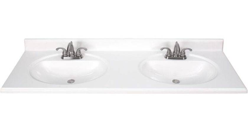 Shop White Cultured Marble Integral Double Sink Bathroom