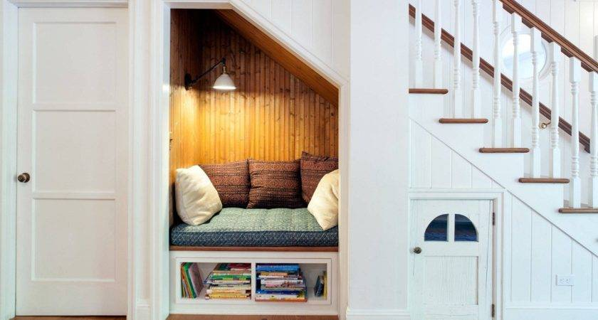 Small Bookshelf Under Reading Nook Stairs White