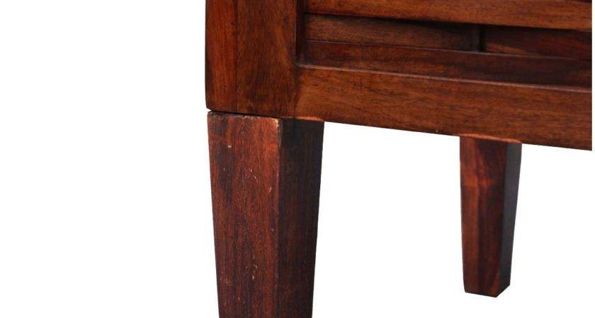 Small Woven Rustic Side Table Solid Wood