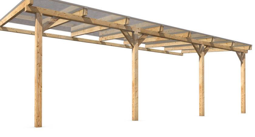 Solid Wood Canopy Set Roof Polycarbonate Sheet Garden