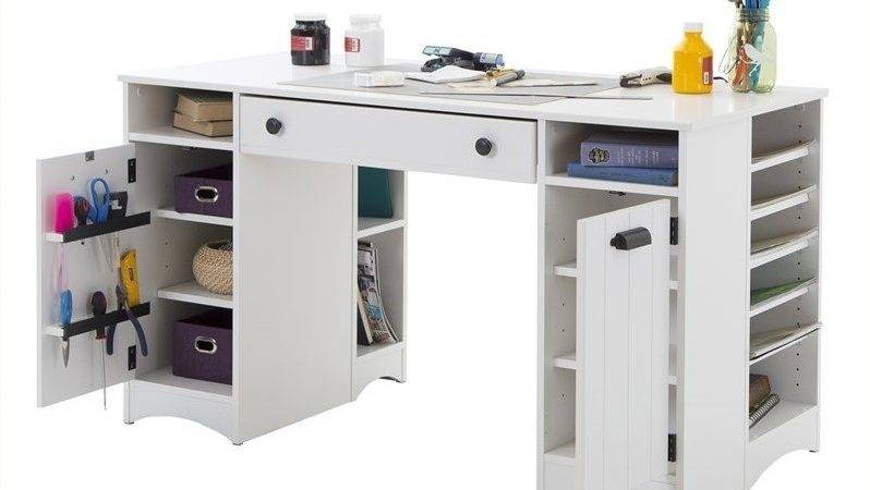 South Shore Artwork Craft Table Storage Pure White