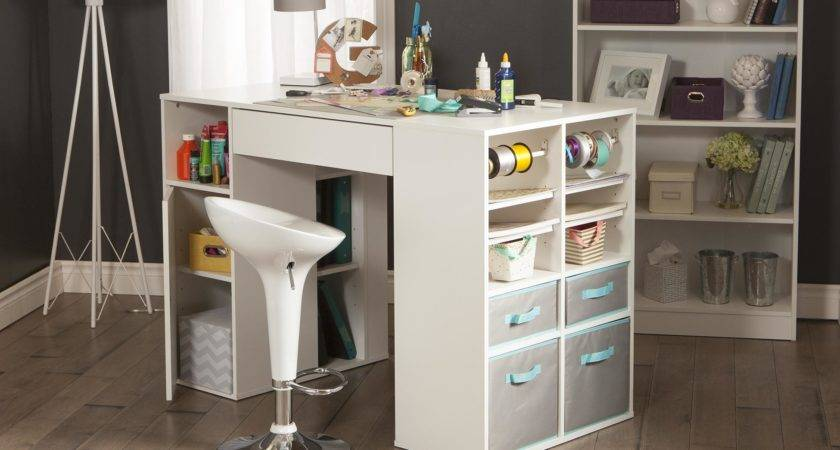 South Shore Crea Counter Height Craft Table Storage