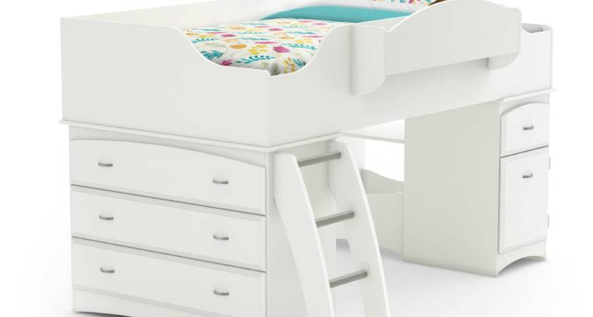 South Shore Imagine Pure White Twin Loft Bed