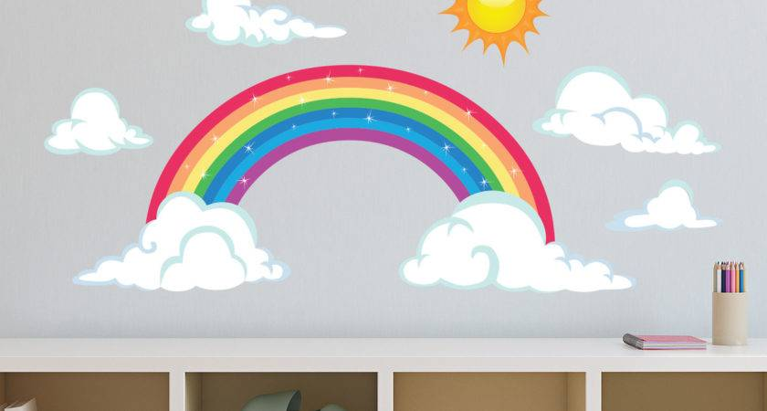 Sparkling Rainbow Fabric Wall Decal Sun Clouds