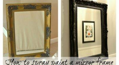 Spray Painted Gold Yard Sale Mirror Paint