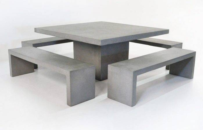 Square Concrete Table Bench Outdoor Dining Set