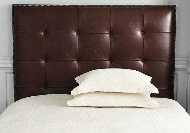 Squire Leather Headboard Nailhead Trim Traditional