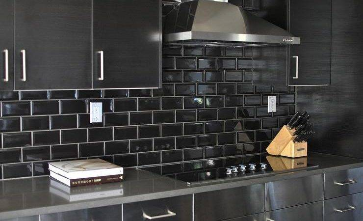 Stainless Steel Kitchen Cabinets Black Subway Tile