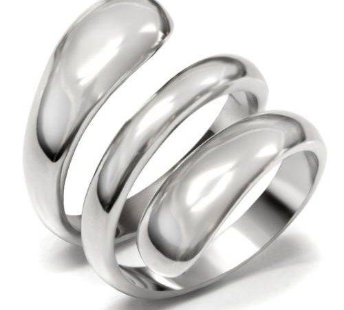 Stainless Steel Smooth Wrap Spiral Ladies Ring Band