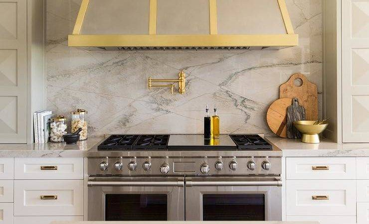 Steel Gold Kitchen Hood Transitional