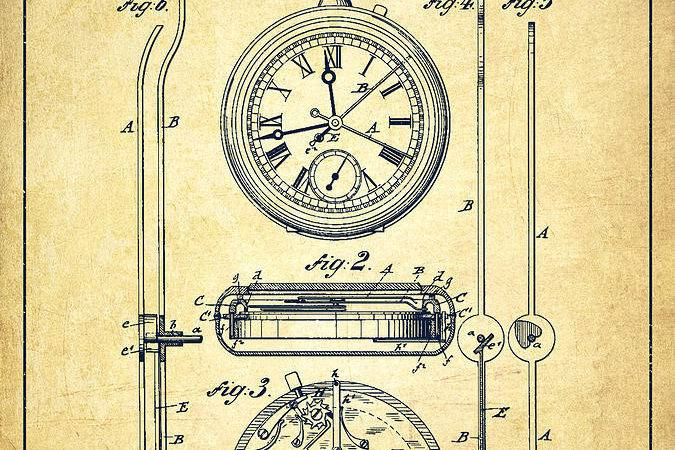 Stopwatch Patent Drawing Vintage