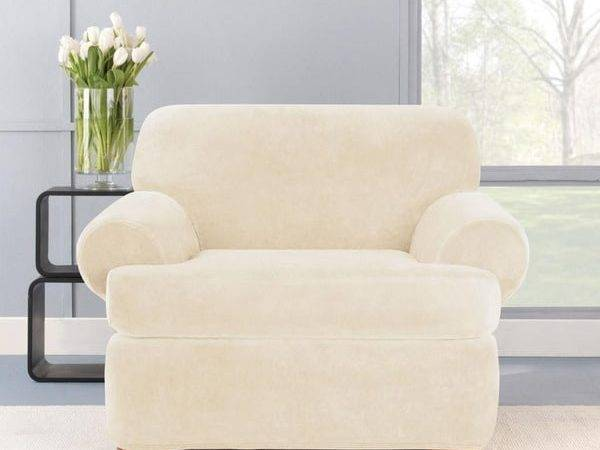 Stretch Plush Cream Cushion Chair Slipcover