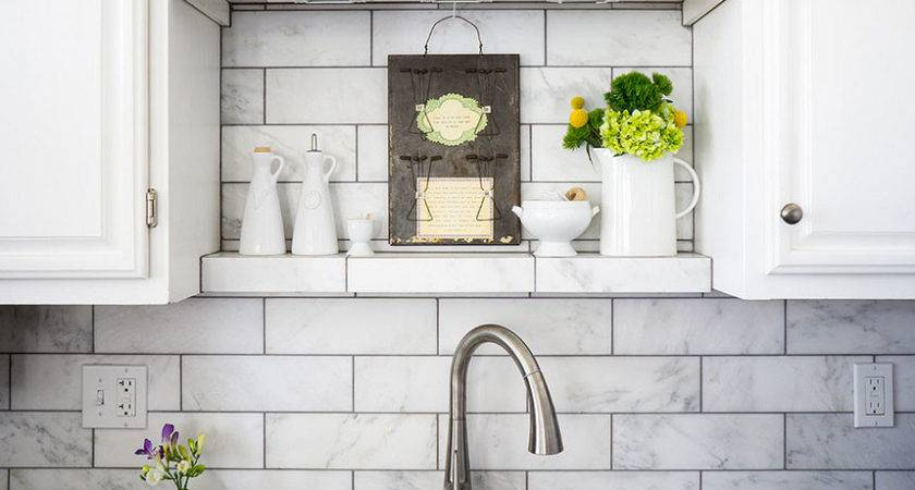 Subway White Marble Backsplash Tile Idea