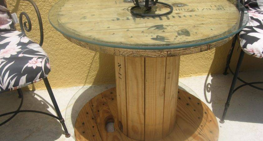 Sunflowers Spears Wooden Cable Spool Table