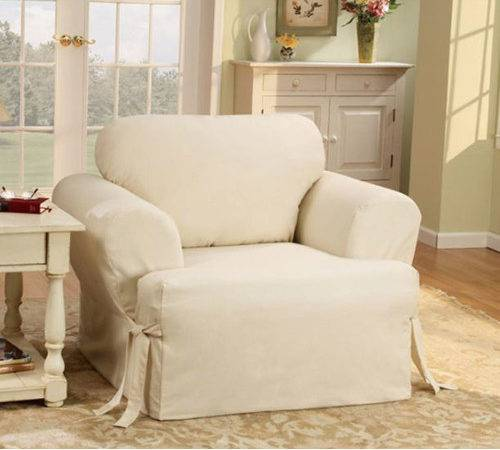 Sure Fit Cotton Duck Cushion Slipcover Chair