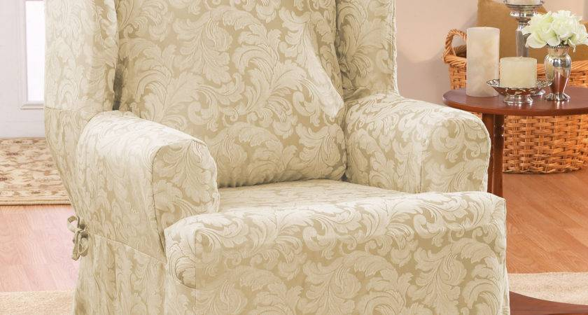 Sure Fit Scroll Classic Wing Chair Cushion Skirted
