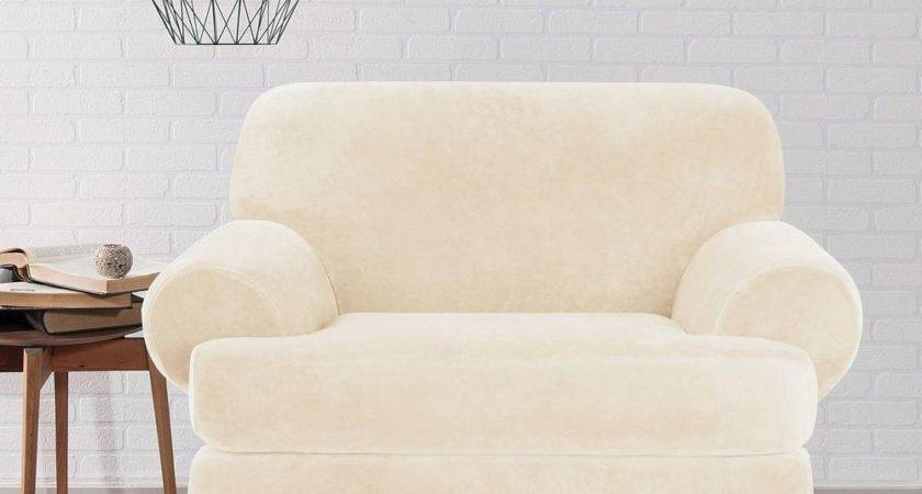 Sure Fit Stretch Plush Cream Cushion Chair Slipcover Ebay