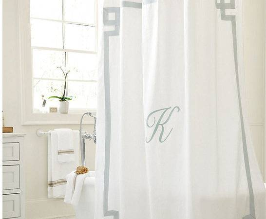 Suzanne Kasler Greek Key Linen Shower Curtain Sky