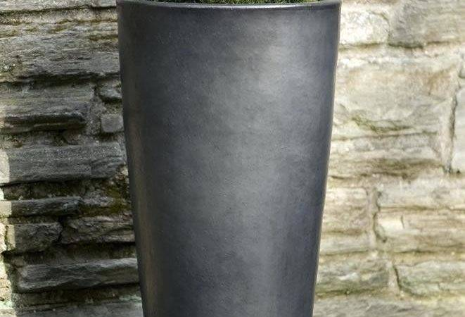 Tall Concrete Planters Narrow Tapered Rectangle Planter