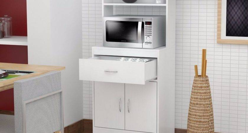 Tall Kitchen Cabinet Storage White Microwave Cart Stand