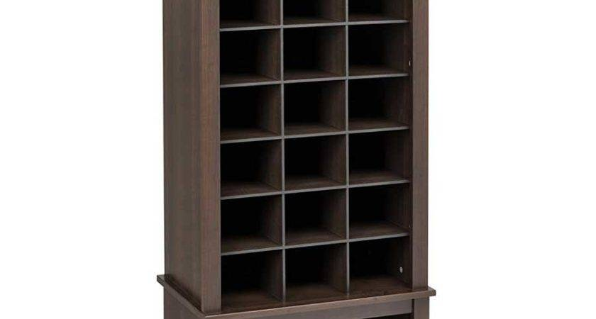 Tall Shoe Cubbie Cabinet Espresso Cubbies