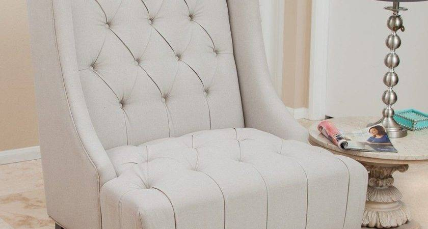 Tall Wingback Upholstered Armchair Tufted Backrest