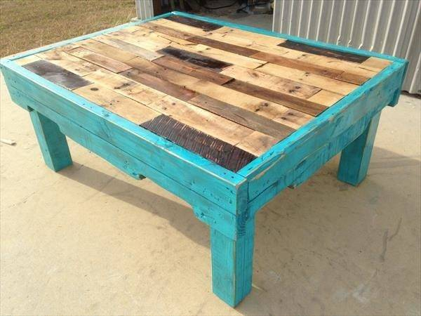 Teal Color Pallet Coffee Table Furniture Plans