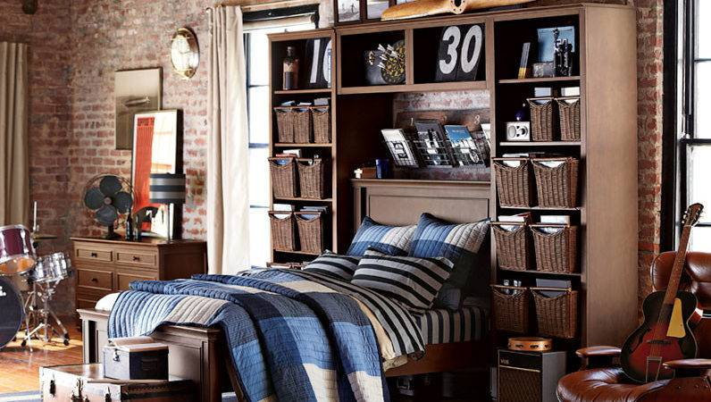 Teenage Guys Bedroom Ideas Wall Storage Pbteen
