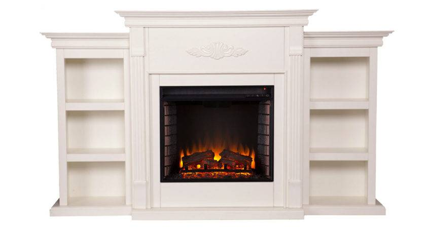 Tennyson Ivory Electric Fireplace Bookcases Southern