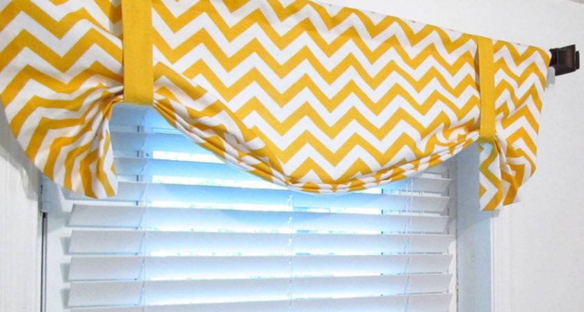 Tie Zig Zag Valance Lined Curtain Chevron Yellow