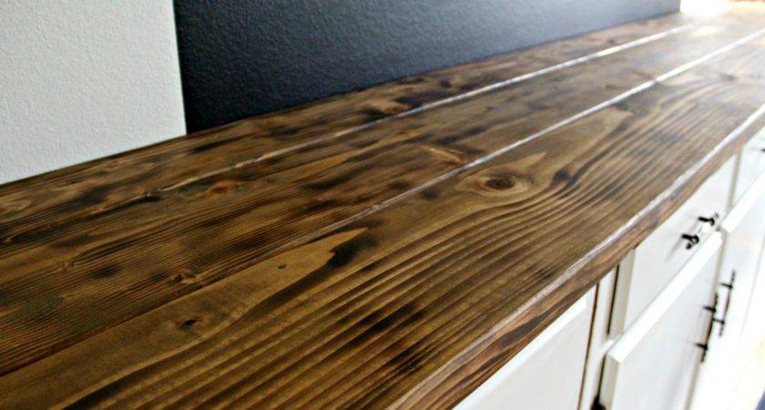 Torched Diy Rustic Wood Counter Top Under